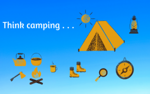 Camping banner shwing typical camping artifiacts - tent, kettle, axe, boots compass, and so on.