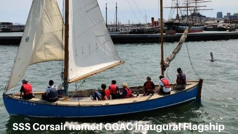 Picture of SSS Corsair which was named the inaugurals GGAC Flagship. Shows a classic wooden whaler under full sail in San Francisco Bay.