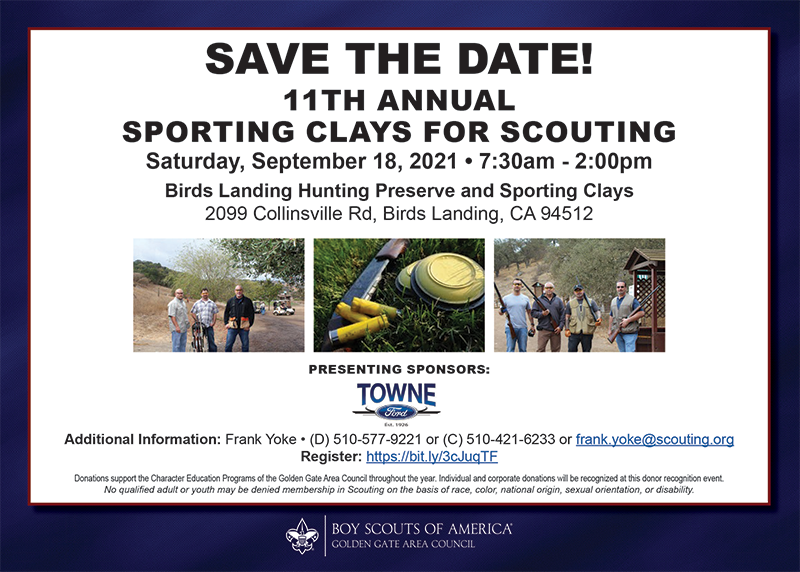 Advertisement for the 11th Annual Sporting Clays for Scouting event.