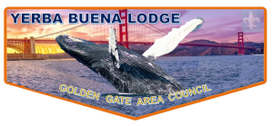 Yerba Buena OA Lodge pocket flpa showing a whale breaching with the Golden Gate bridge as a background.