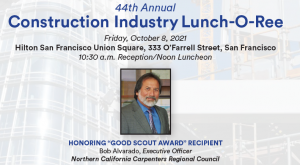Featured honoree at 2021 Construction Industry Lunch-o-Ree