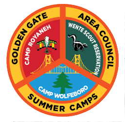Patch showing Council's three summer camps, Royaneh, Wente and Wolfeboro