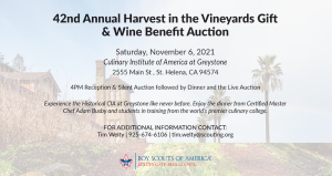 Harvest in the Vineyard promotional graphic with building in background and informational text in the foreground.